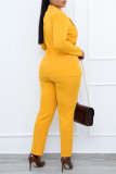 Yellow Casual Work Solid Split Joint Buttons Turn-back Collar Long Sleeve Two Pieces