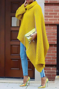 Yellow Fashion Casual Solid Slit Turtleneck Tops