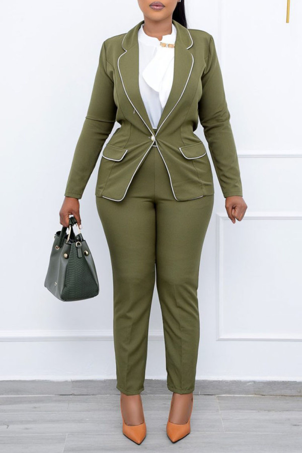 Army Green Casual Work Solid Split Joint Buttons Turn-back Collar Long Sleeve Two Pieces