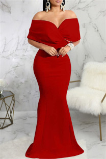 Red Fashion Sexy Solid Backless V Neck Evening Dress