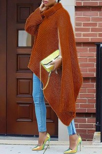 Brick Red Fashion Casual Solid Slit Turtleneck Tops