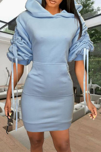Light Blue Fashion Casual Solid Draw String Hooded Collar Long Sleeve Dresses