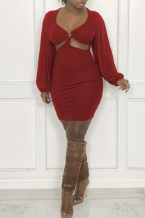 Red Sexy Solid Hollowed Out Split Joint U Neck Dresses