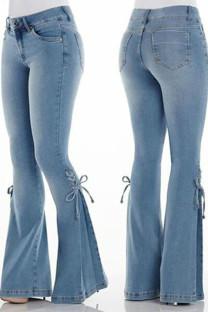Deep Blue Casual Street Solid Bandage Split Joint High Waist Boot Cut Denim Jeans