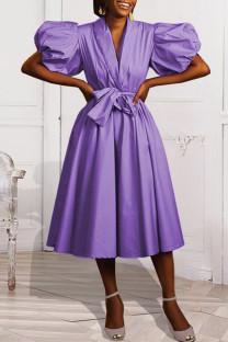 Purple Fashion Casual Solid Basic V Neck Short Sleeve Dress Dresses