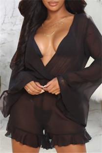 Black Fashion Sexy Solid See-through V Neck Regular Romper