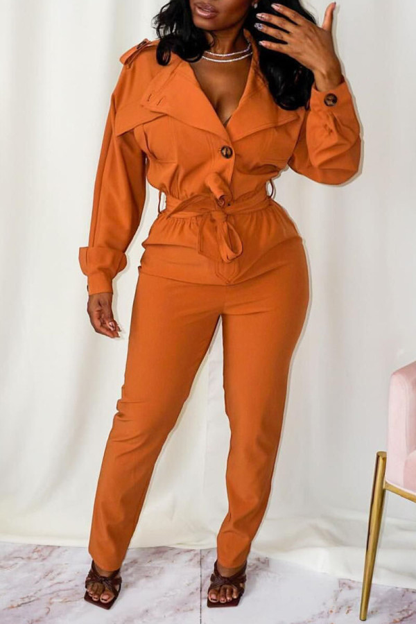 Tangerine Red Casual Street Solid Split Joint Buttons Turndown Collar Straight Jumpsuits