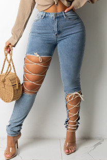 Light Color Fashion Casual Solid Ripped Bandage High Waist Regular Denim Jeans