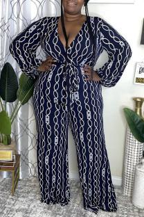 Deep Blue Fashion Casual Print Basic V Neck Plus Size Jumpsuits