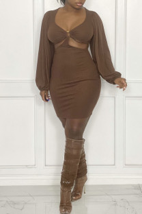 Coffee Sexy Solid Hollowed Out Split Joint U Neck Dresses