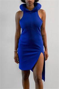 Blue Fashion Sexy Solid Asymmetrical O Neck Sleeveless Dress