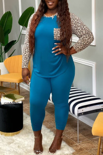 Blue Fashion Casual Plus Size Print Leopard Split Joint O Neck Long Sleeve Two Pieces