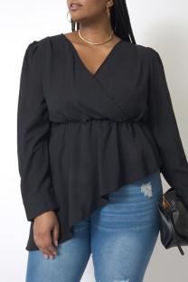 Black Fashion Casual Solid Asymmetrical V Neck Plus Size Tops