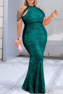 Green Fashion Sexy Plus Size Solid Split Joint O Neck Sleeveless Evening Dress