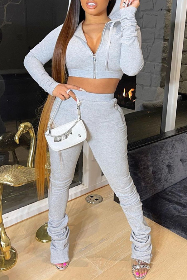 Grey Fashion Casual Solid Fold Zipper Hooded Collar Long Sleeve Two Pieces