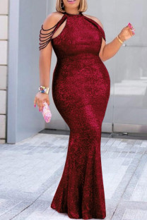 Red Fashion Sexy Plus Size Solid Split Joint O Neck Sleeveless Evening Dress