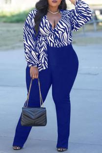 Blue Fashion Casual Print Bandage V Neck Plus Size Two Pieces