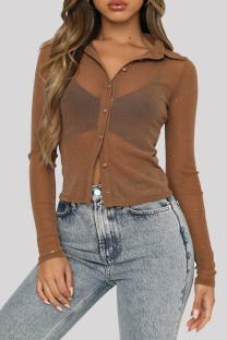 Khaki Fashion Casual Bronzing Cardigan Turndown Collar T-Shirts