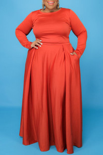 Tangerine Casual Solid Split Joint O Neck Plus Size Two Pieces
