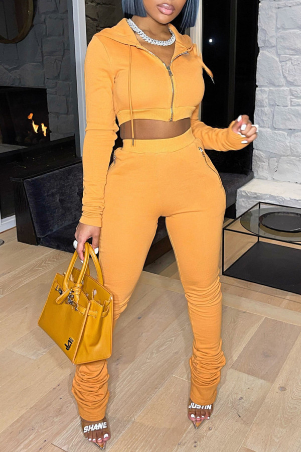 Yellow Fashion Casual Solid Fold Zipper Hooded Collar Long Sleeve Two Pieces