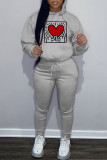 Grey Fashion Casual Print Basic Hooded Collar Long Sleeve Two Pieces