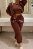 Coffee Fashion Casual Solid Embroidered Hooded Collar Long Sleeve Two Pieces