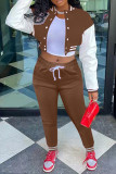Brown Fashion Casual Patchwork Printing Long Sleeve Two Pieces