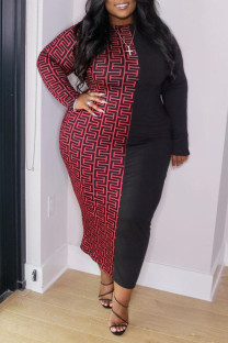 Black Red Casual Print Split Joint O Neck Straight Plus Size Dresses
