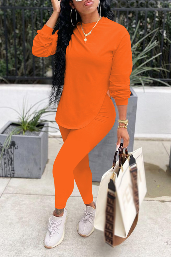 Orange Casual Solid Split Joint O Neck Long Sleeve Two Pieces