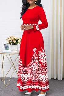 Red Fashion Casual Print Split Joint O Neck Long Sleeve Dresses