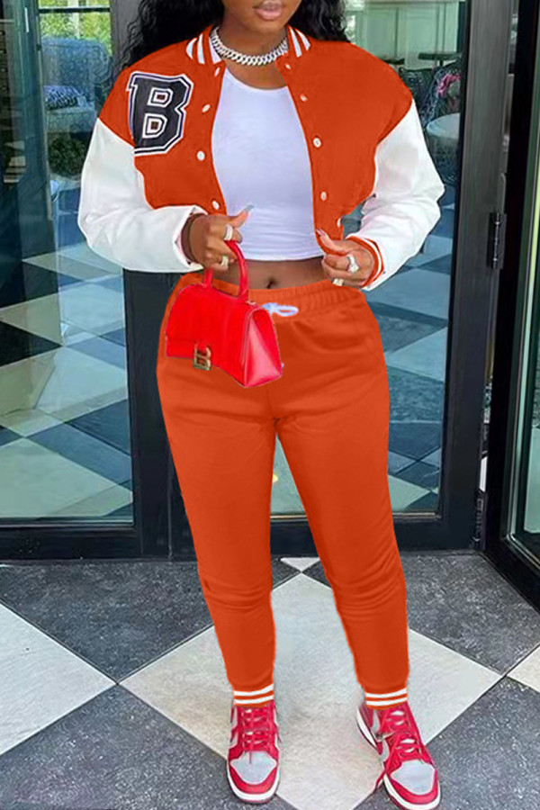 Orange Fashion Casual Patchwork Printing Long Sleeve Two Pieces