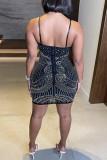 Black Fashion Sexy Hot Drilling Backless V Neck Sling Dress