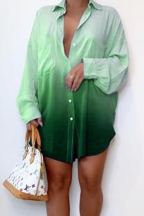 Green Casual Gradual Change Split Joint Buckle Turndown Collar Shirt Dress Dresses