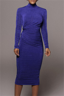 Blue Fashion Casual Solid Hollowed Out Turtleneck Long Sleeve Dresses