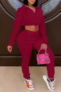 Burgundy Fashion Casual Solid Basic Turndown Collar Long Sleeve Two Pieces