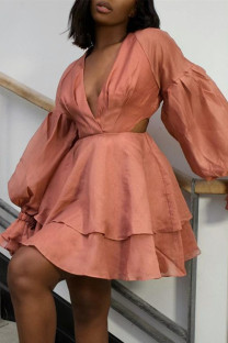 Orange Fashion Casual Solid Hollowed Out V Neck Long Sleeve Dresses