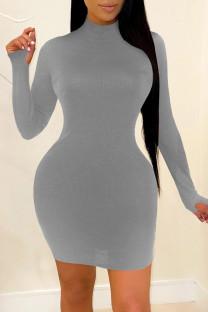 Grey Fashion Casual Solid Basic Turtleneck Long Sleeve Dresses