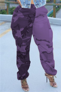 Purple Fashion Casual Camouflage Print Split Joint Regular High Waist Trousers