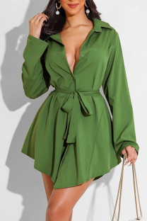 Green Fashion Casual Solid With Belt Turndown Collar Long Sleeve Dresses