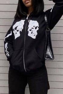 Black Street Print Split Joint Zipper Hooded Collar Outerwear