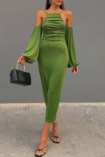 Green Fashion Sexy Solid Spaghetti Strap Long Sleeve Dresses
