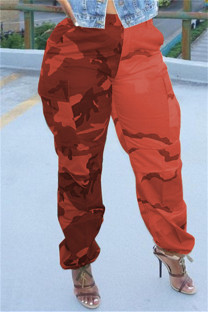 Red Fashion Casual Camouflage Print Split Joint Regular High Waist Trousers