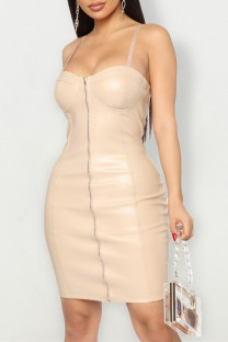 Apricot Fashion Sexy Solid Backless Square Collar Sling Dress Dresses