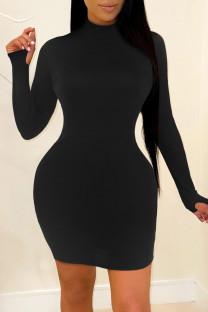 Black Fashion Casual Solid Basic Turtleneck Long Sleeve Dresses