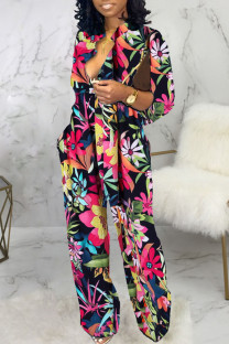 Multicolor Casual Print Split Joint V Neck Straight Jumpsuits