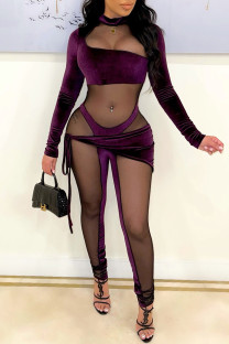 Purple Fashion Sexy Patchwork See-through Half A Turtleneck Skinny Jumpsuits