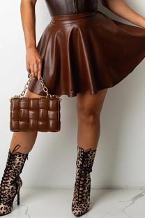 Deep Coffee Fashion Casual Solid Basic Regular High Waist Skirt