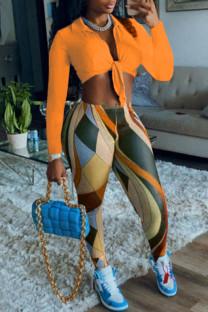 Orange Fashion Sexy Print Bandage V Neck Long Sleeve Two Pieces