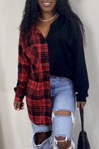 Red Casual Plaid Print Split Joint Buckle With Belt Turndown Collar Tops