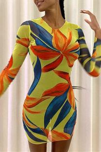 Yellow Fashion Casual Print Basic O Neck Long Sleeve Dresses
